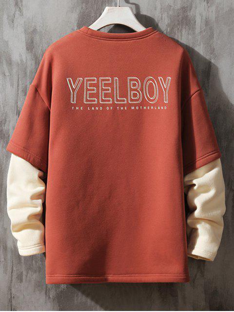 Gráfico Impreso de imitación de dos piezas ocasional de la camiseta - Castaño Rojo M Mobile