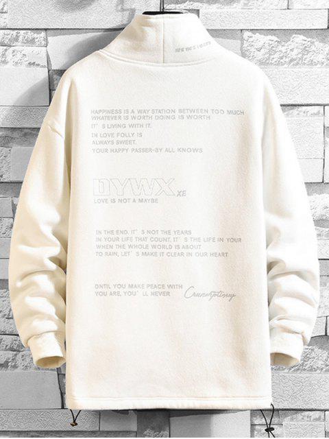Buchstabe Grafikdruck Fleece Lässiges Sweatshirt - Weiß L Mobile