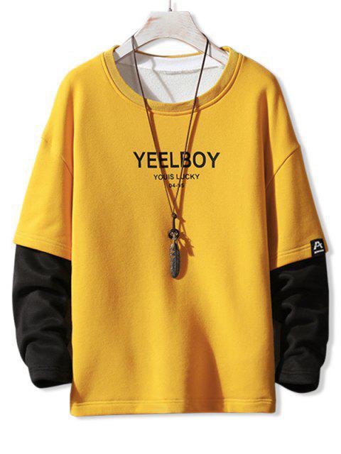 Grafik Druck Faux Zweiteiliger Freizeit Sweatshirt - Gelb S Mobile