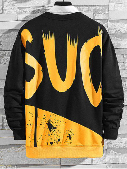 chic Letter Paint Splatter Colorblock Splicing Sweatshirt - BLACK S Mobile