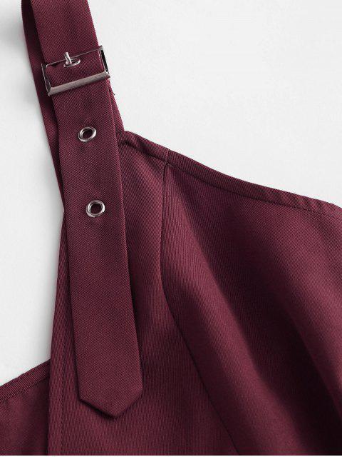 ZAFUL con cinturón de hebilla de doble botonadura mini vestido - Ladrillo Refractario M Mobile