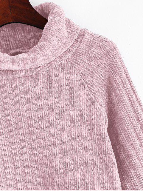Chenille Turtleneck Raglanärmeln Crop Pullover - Schwein Rosa L Mobile