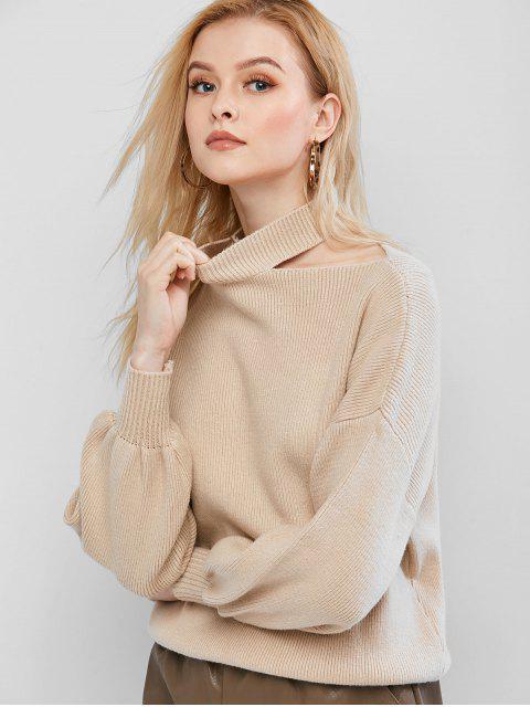Suéter de cuello alto del hombro del recorte gota - Caqui Claro Talla única Mobile