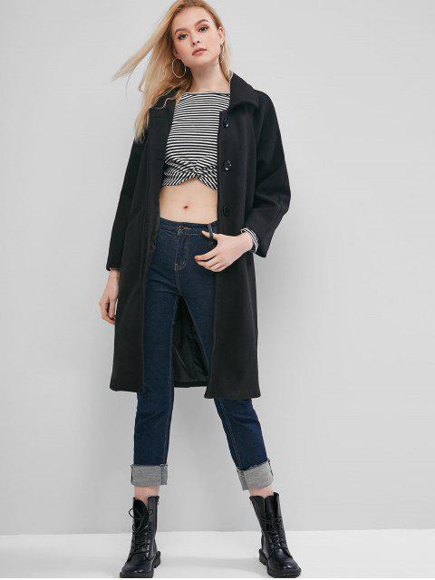 Manteau Long à Manches Raglan - Noir S Mobile