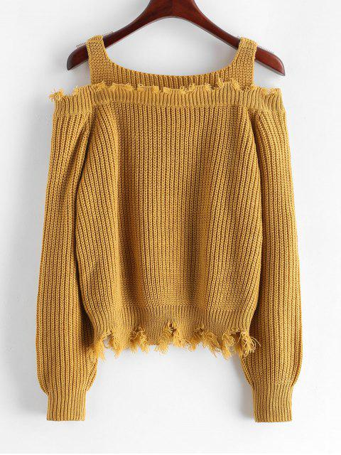 new ZAFUL Frayed Cold Shoulder Sharkbite Trim Sweater - COOKIE BROWN S Mobile
