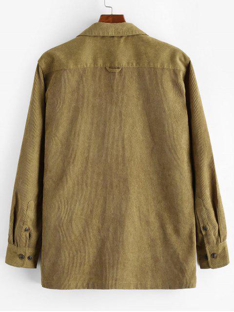 Einfarbiges Tasche Dekoration Freizeithemd - Khaki XL Mobile
