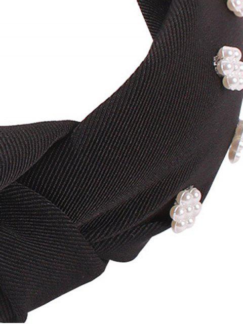 Bande de Cheveux Large Fleurie en Fausse Perle - Noir  Mobile