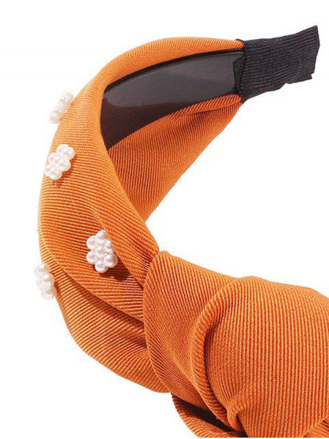hot Faux Pearl Floral Wide Hairband - SANDY BROWN  Mobile