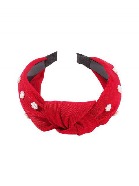 women's Faux Pearl Floral Wide Hairband - RED  Mobile