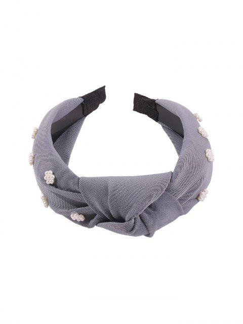 latest Faux Pearl Floral Wide Hairband - DARK GRAY  Mobile
