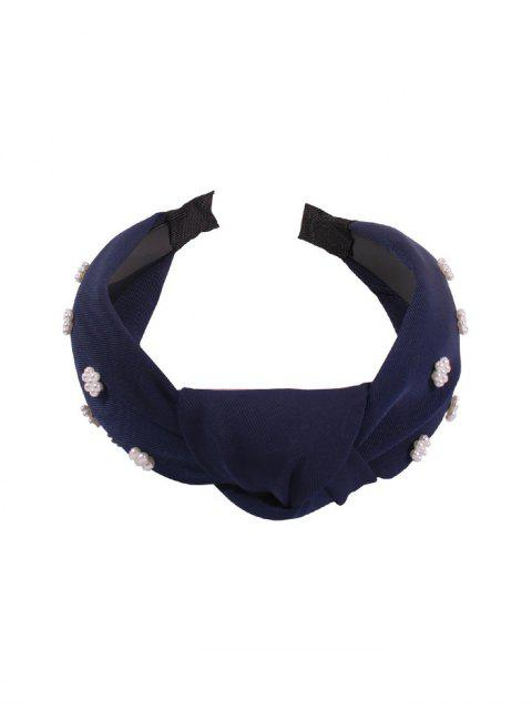 affordable Faux Pearl Floral Wide Hairband - CADETBLUE  Mobile