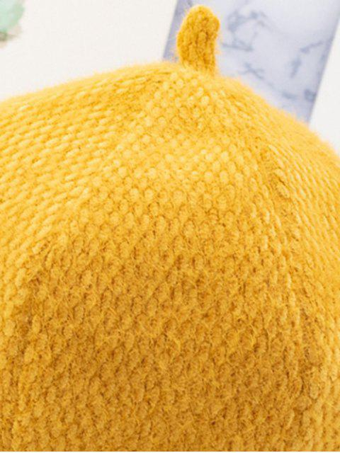 ladies Japanese Style Solid Fuzzy Beret Hat - BRIGHT YELLOW  Mobile