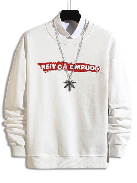 Sweatshirt mit Buchstabe Druck ,Drop Schulter und Kreuzgurte - Weiß XS Mobile