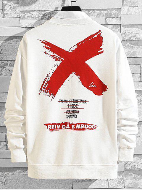 跨信打印降肩運動衫 - 白色 XL Mobile