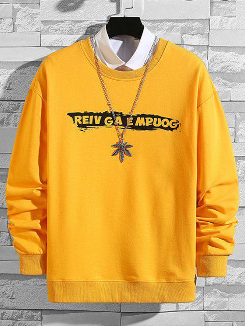 Sweatshirt mit Buchstabe Druck ,Drop Schulter und Kreuzgurte - Gelb XL Mobile