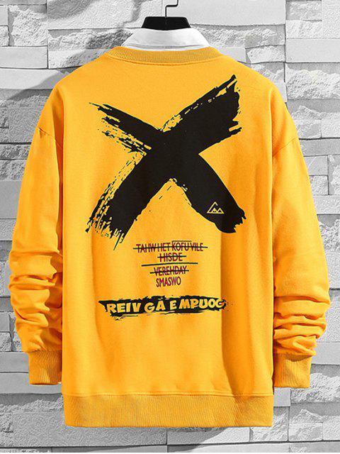 跨信打印降肩運動衫 - 黃色 XL Mobile