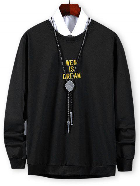 Sweatshirt mit Buchstabenstickereien und Grafik - Schwarz XL Mobile
