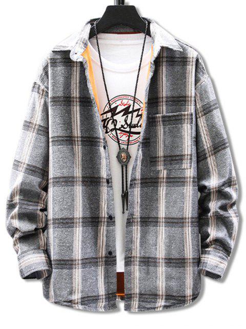 胸袋格子打印毛絨衫 - 灰色 4XL Mobile