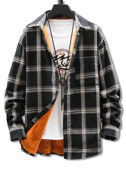 胸袋格子打印毛絨衫 - 黑色 XL Mobile