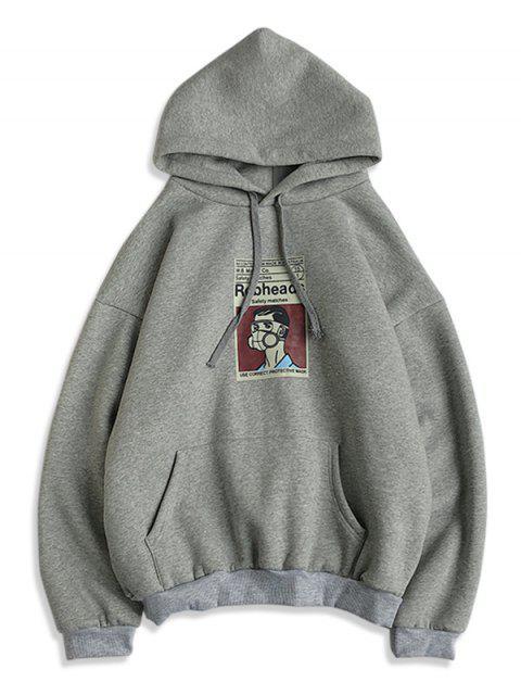 卡通圖形打印休閒帽衫 - 灰色 S Mobile