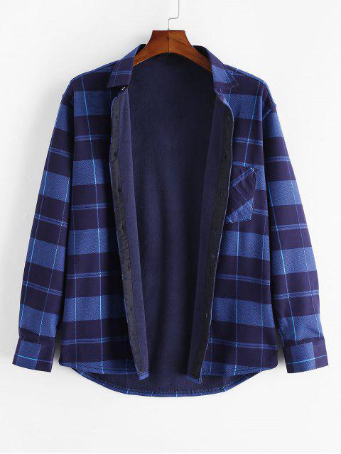 格仔打印胸袋扣羊毛襯衫 - 多 M Mobile