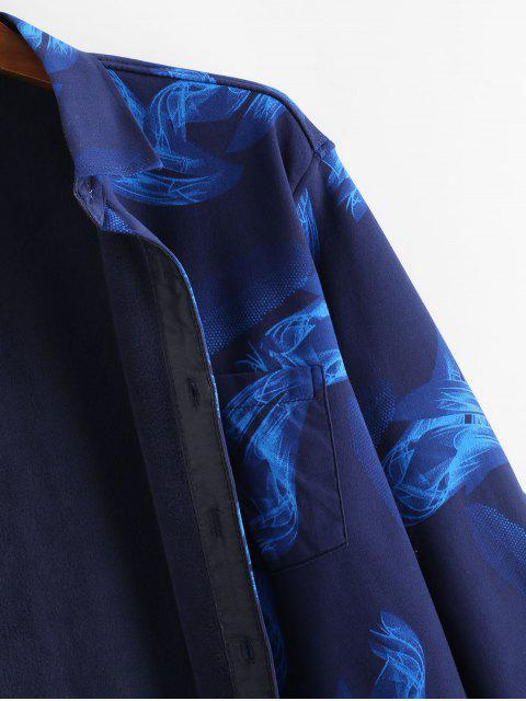 長袖火焰打印按鈕向上羊毛襯衫 - 多 XS Mobile