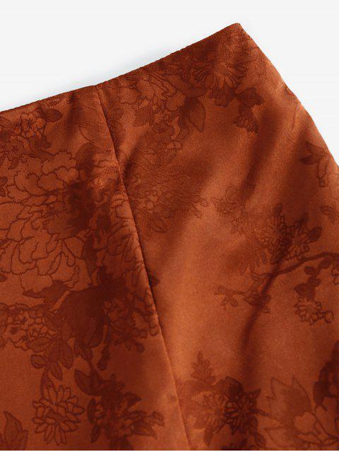 latest ZAFUL Flower Jacquard Slit A Line Skirt - RED DIRT M Mobile