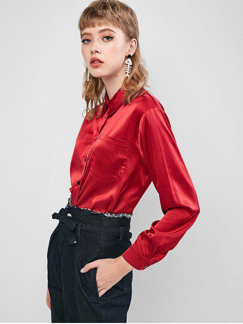 ZAFUL Knopf Satin Hohes Niedriges Shirt - Roter Wein S Mobile