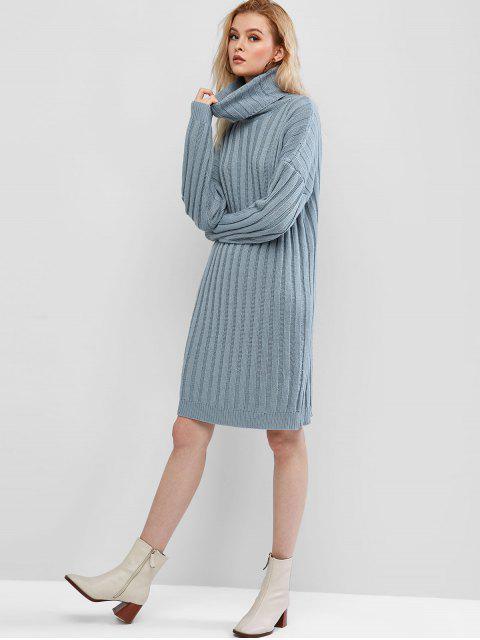 ZAFUL Robe Pull Côtelée Goutte Epaule à Col Roulé - Bleu Toile de Jean M Mobile