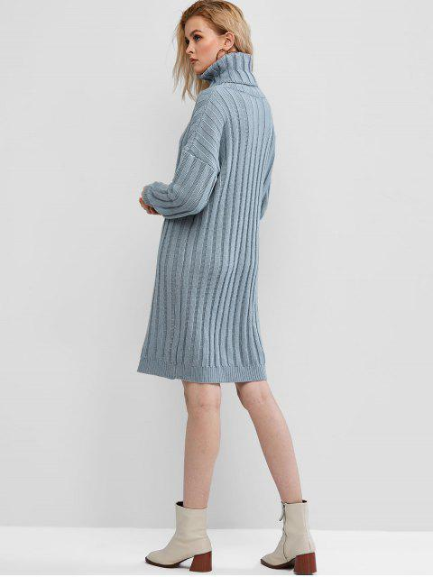ZAFUL羅紋領落肩毛衣裙 - 牛仔布藍色 S Mobile