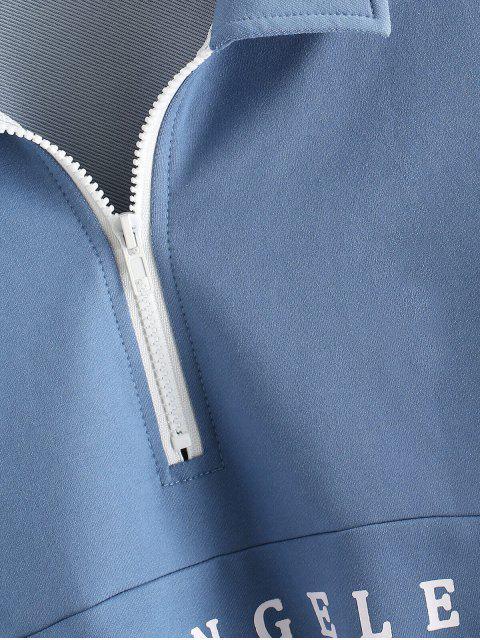 ZAFUL Sweatshirt mit Halbem Reißverschluss und Amerikanischer Flagge - Blaue Koifisch M Mobile