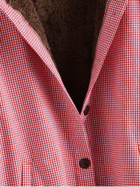 Abrigo Capucha a Cuadros Gingham Abotonado - Rojo M Mobile