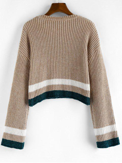 chic ZAFUL Striped Chenille Drop Shoulder Jumper Sweater - TAN M Mobile