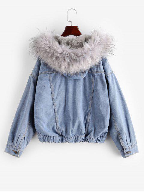 Botão Jacket Up Fluffy com capuz Denim - Cinzento M Mobile