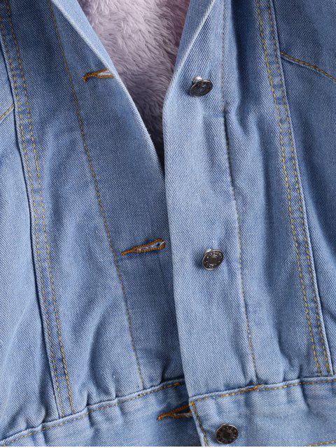 Botón Arriba mullido con capucha de la chaqueta del dril de algodón - Rosado XL Mobile