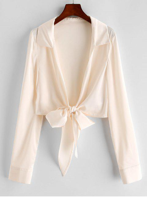 hot ZAFUL Tie Front Satin Crop Blouse - BEIGE L Mobile