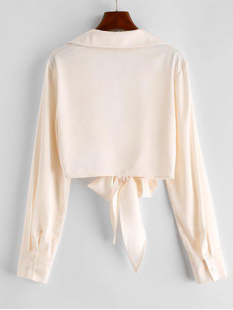 shop ZAFUL Tie Front Satin Crop Blouse - BEIGE S Mobile
