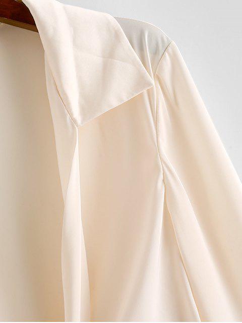lady ZAFUL Tie Front Satin Crop Blouse - BEIGE M Mobile