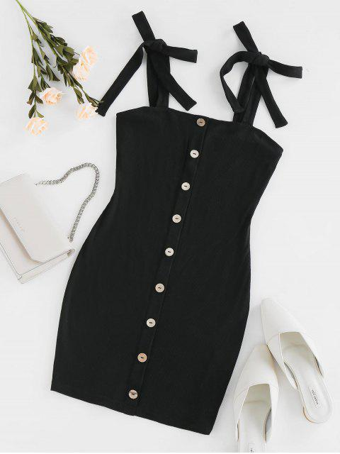 shops ZAFUL Ribbed Tie Shoulder Bodycon Dress - BLACK S Mobile