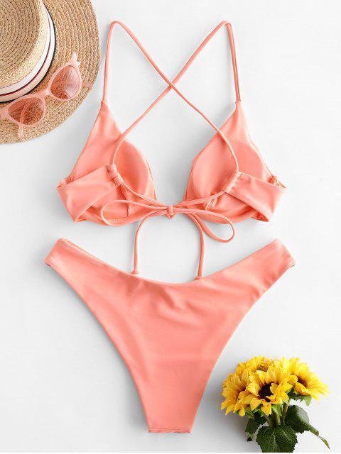 ZAFUL Bikini con Aros Cruzados y Cordones - Rosa Naranja L Mobile