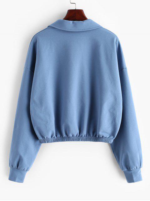ladies ZAFUL American Flag Letter Half Zip Sweatshirt - BLUE KOI L Mobile