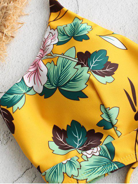 ZAFUL Flor Trançada com Cordões Impressão Biquíni - Amarelo S Mobile