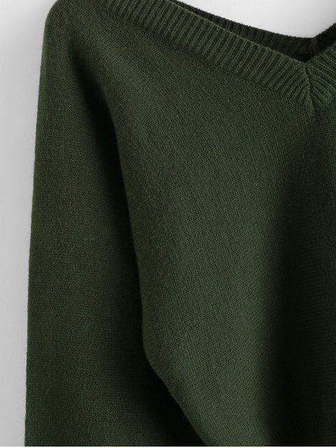 fashion ZAFUL Raglan Sleeve Double V Neck Short Sweater - MEDIUM SEA GREEN S Mobile
