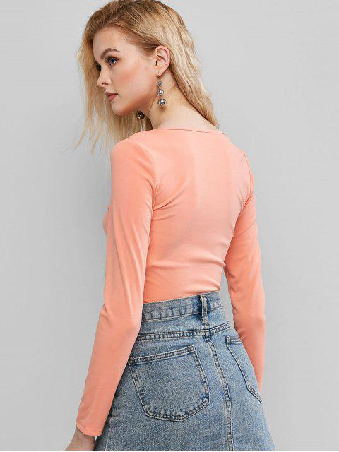 ZAFUL T-shirt Court Découpé en Couleur Unie à Lacets - Orange Rose XL Mobile