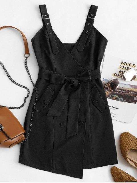 affordable ZAFUL Belted Buckle Double Breasted Mini Dress - NIGHT L Mobile