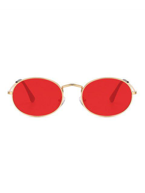 unique Metal Oval Anti UV Sunglasses - RED  Mobile