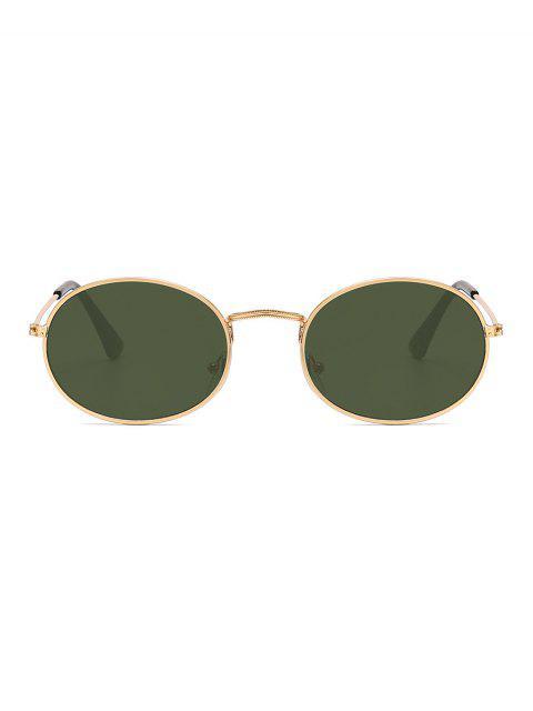 Анти-UV Металлические Овальные Солнцезащитные Очки - Темно-зеленый  Mobile