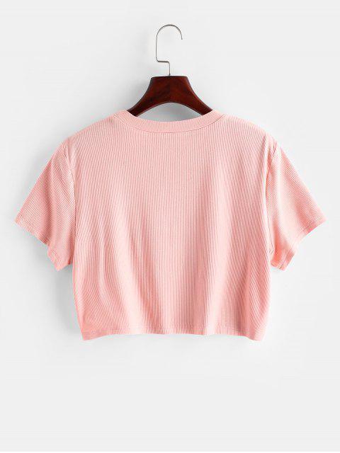 ZAFUL T-shirt Court Chien Imprimé à Col Rond - Rose  XL Mobile