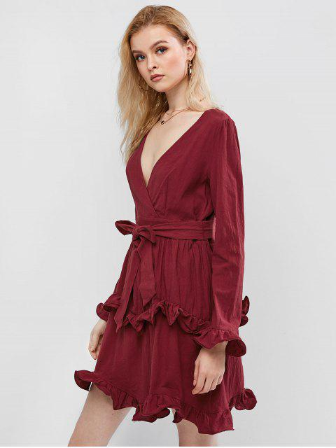 ladies ZAFUL Ruffles Surplice Dress - RED WINE M Mobile