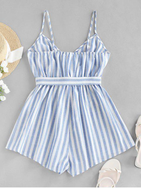 womens ZAFUL Striped Belted Cami Wide Leg Romper - MULTI-A M Mobile
